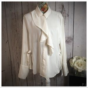 Chico's Ivory Ruffle Blouse XL